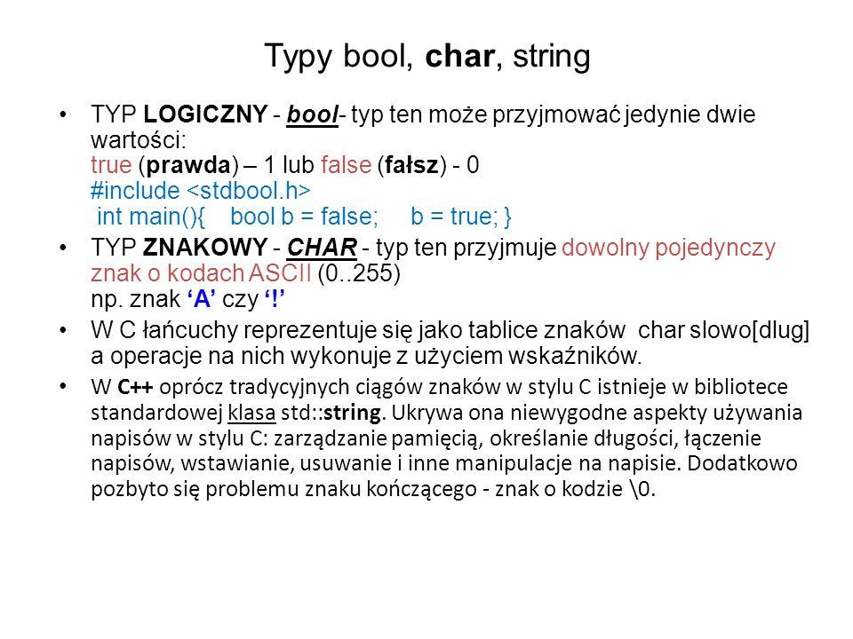 Typy bool, char, string
