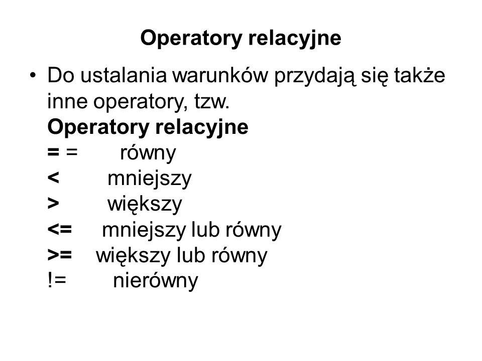 Operatory relacyjne