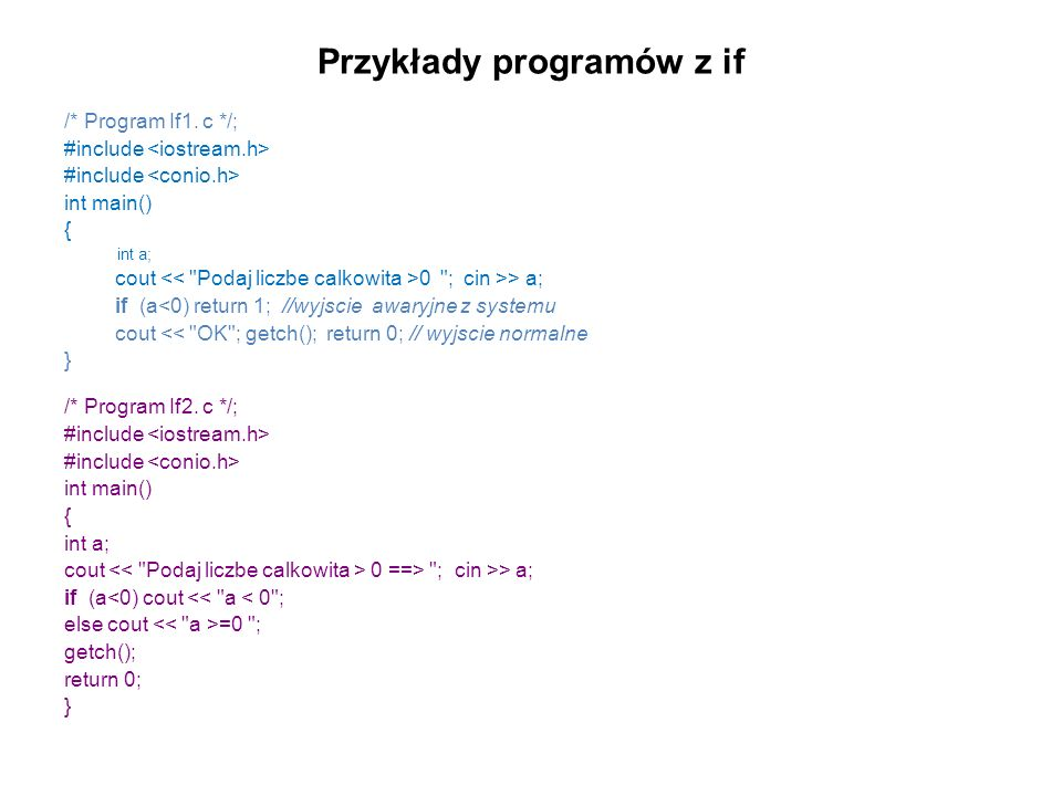 Przykłady programów z if