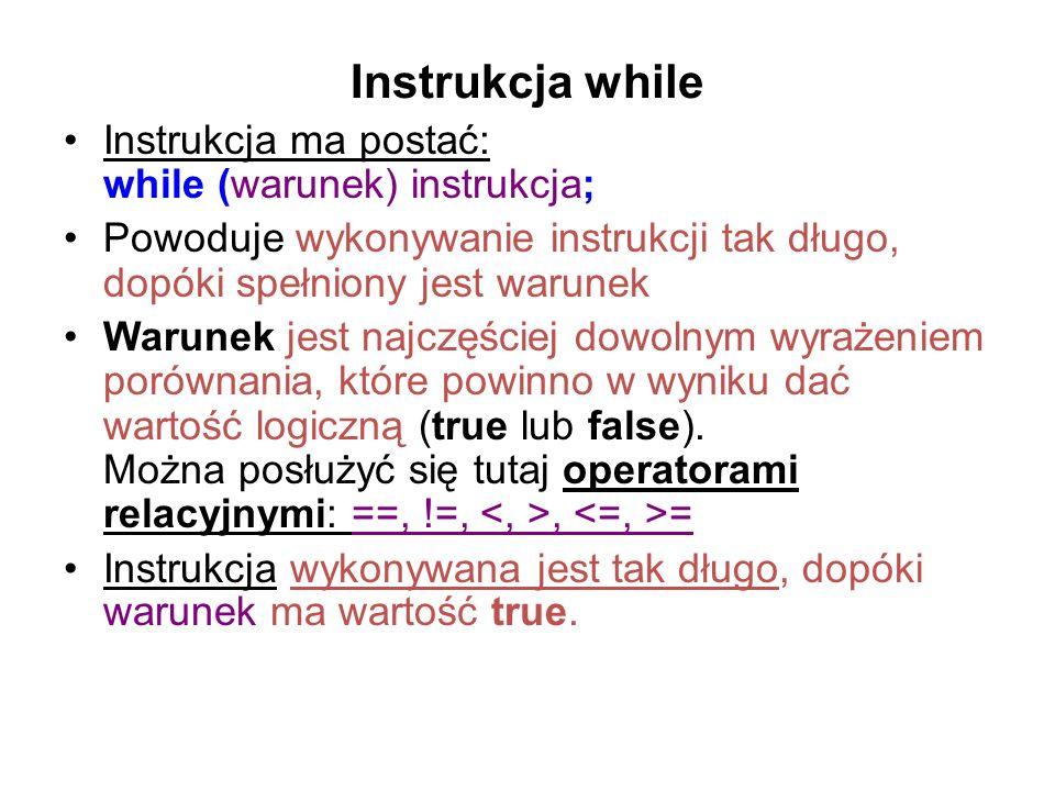Instrukcja while Instrukcja ma postać: while (warunek) instrukcja;