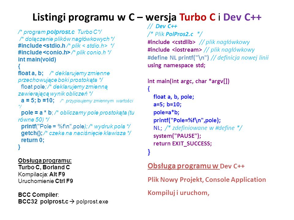 Listingi programu w C – wersja Turbo C i Dev C++