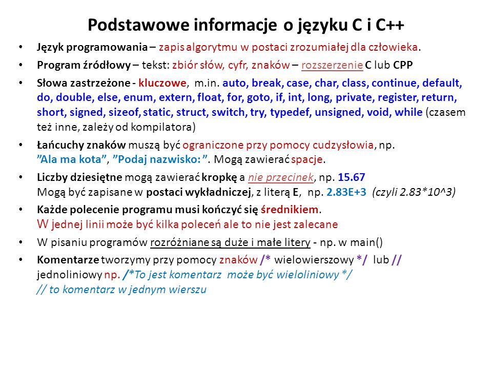 Podstawowe informacje o języku C i C++