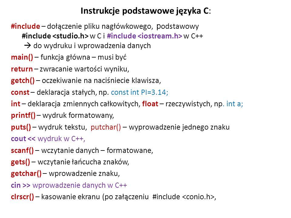 Instrukcje podstawowe języka C:
