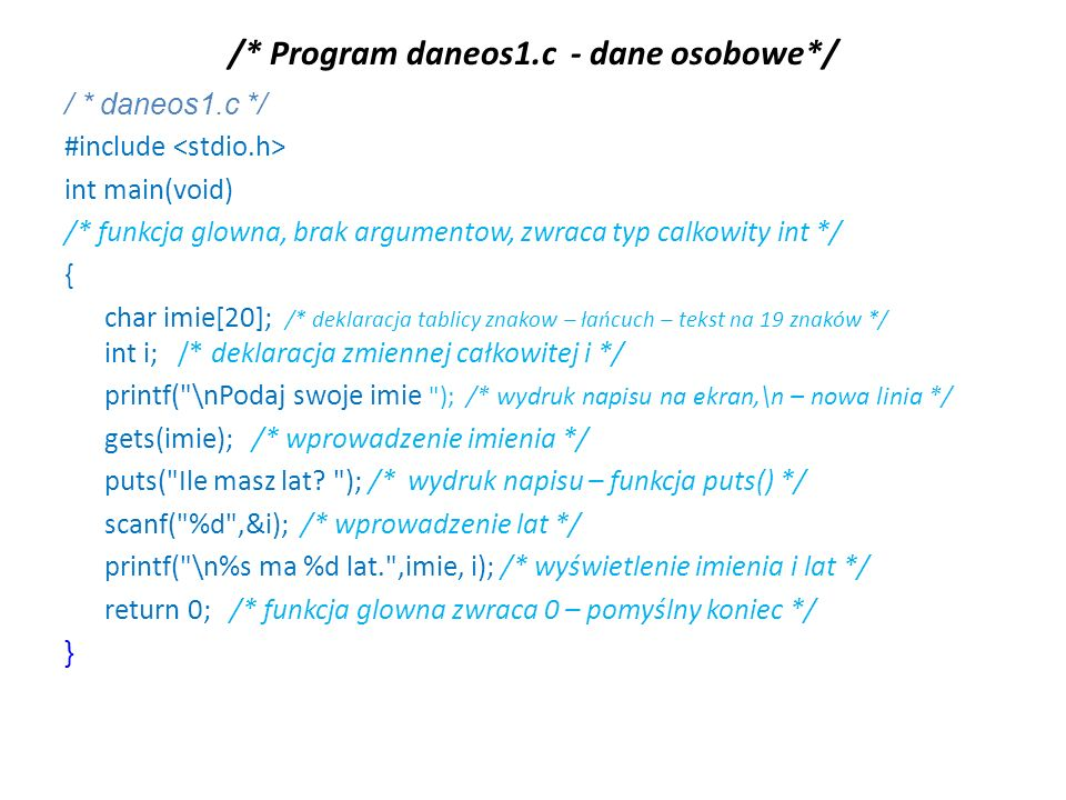 /* Program daneos1.c - dane osobowe*/