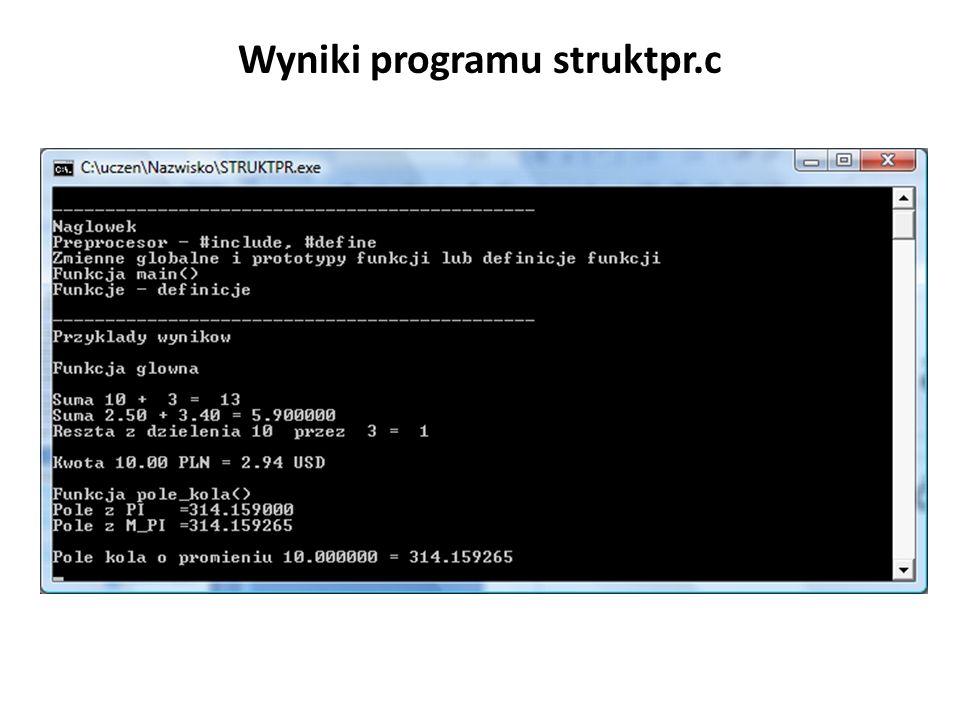 Wyniki programu struktpr.c