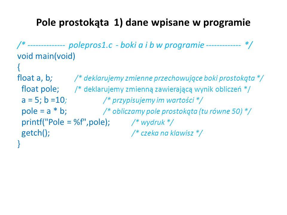 Pole prostokąta 1) dane wpisane w programie