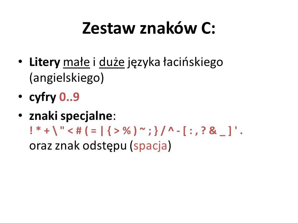 Zestaw znaków C: Litery małe i duże języka łacińskiego (angielskiego)