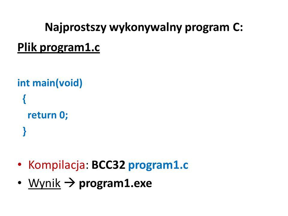 Najprostszy wykonywalny program C: