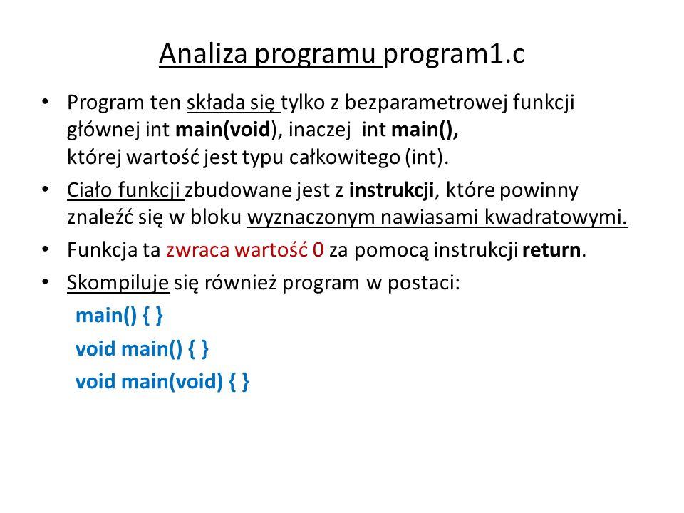Analiza programu program1.c