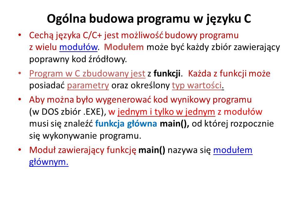 Ogólna budowa programu w języku C