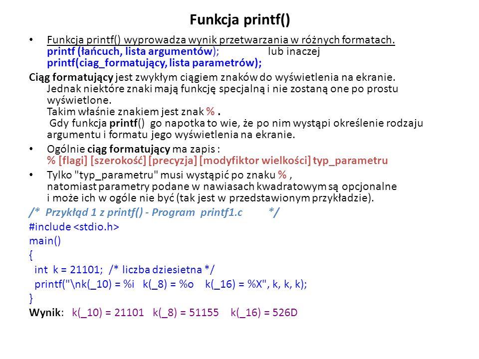 Funkcja printf()