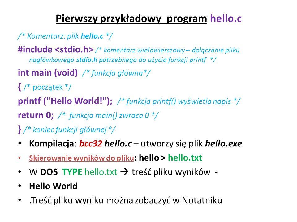 Pierwszy przykładowy program hello.c