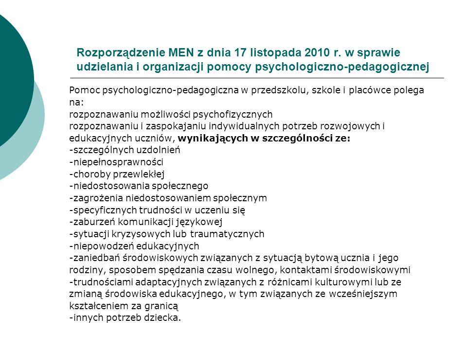 Rozporządzenie MEN z dnia 17 listopada 2010 r