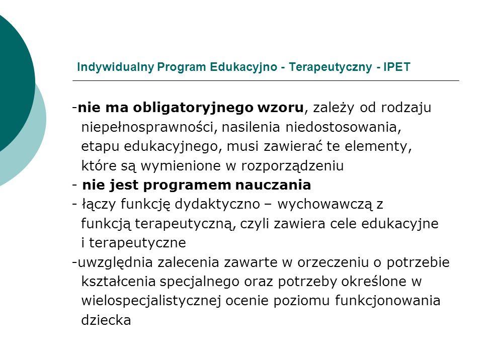 Indywidualny Program Edukacyjno - Terapeutyczny - IPET