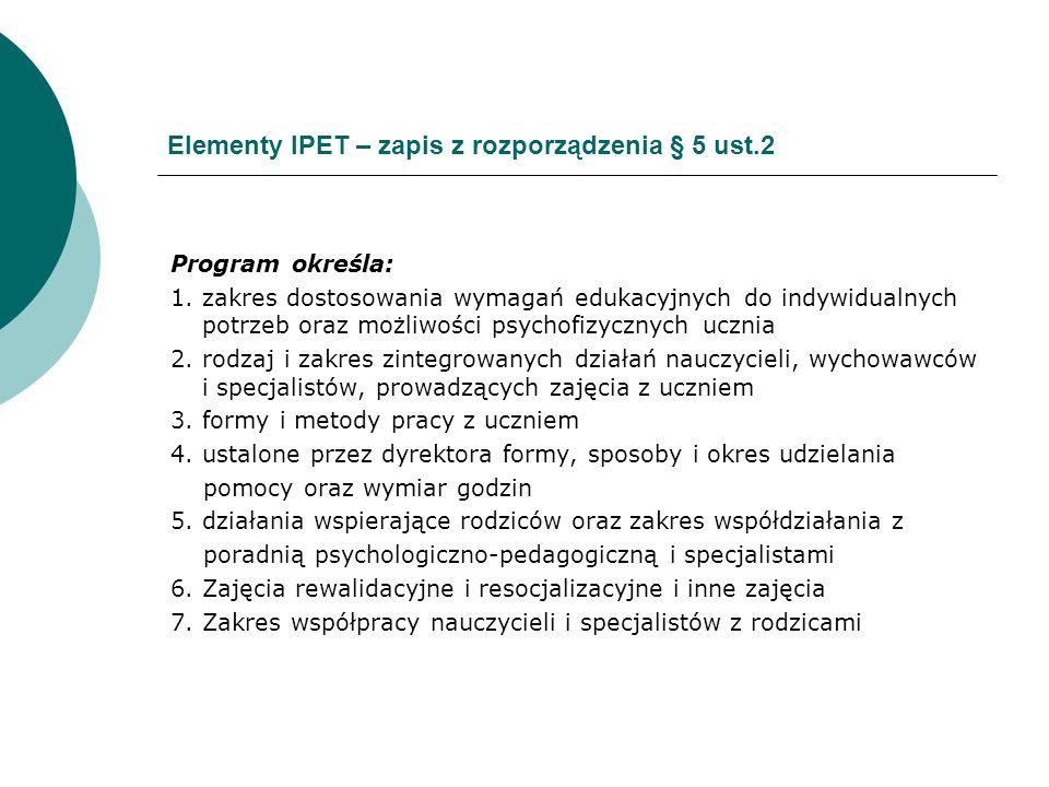 Elementy IPET – zapis z rozporządzenia § 5 ust.2