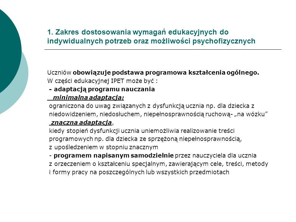 1. Zakres dostosowania wymagań edukacyjnych do indywidualnych potrzeb oraz możliwości psychofizycznych