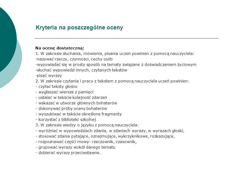 Kryteria na poszczególne oceny