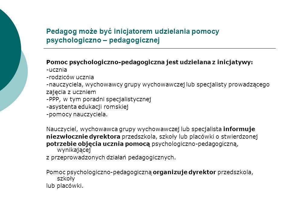 Pedagog może być inicjatorem udzielania pomocy psychologiczno – pedagogicznej
