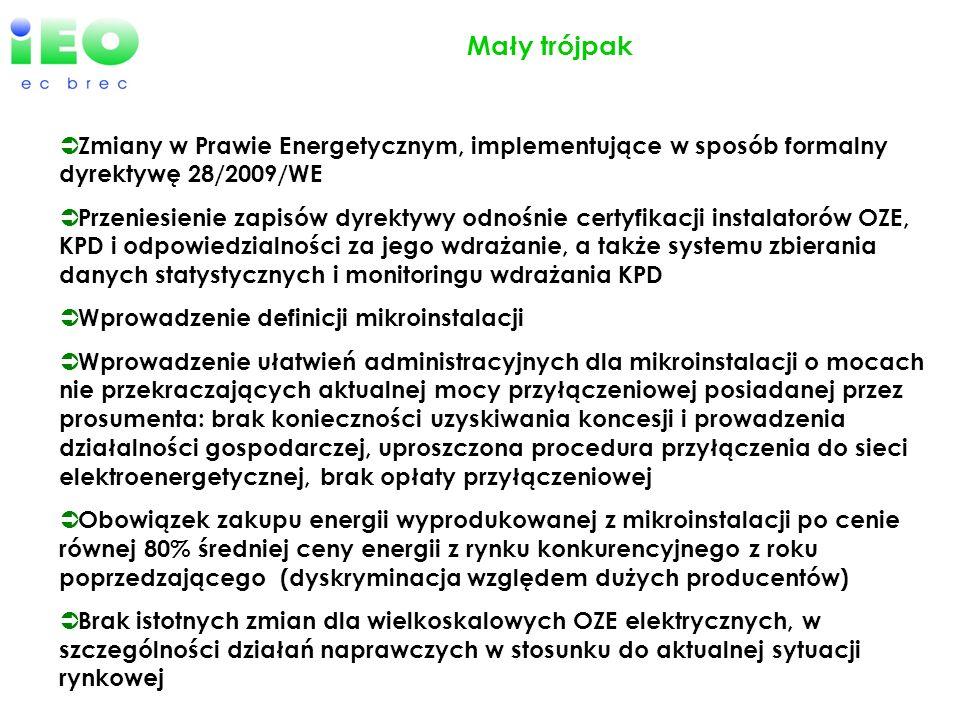 Mały trójpak Zmiany w Prawie Energetycznym, implementujące w sposób formalny dyrektywę 28/2009/WE.