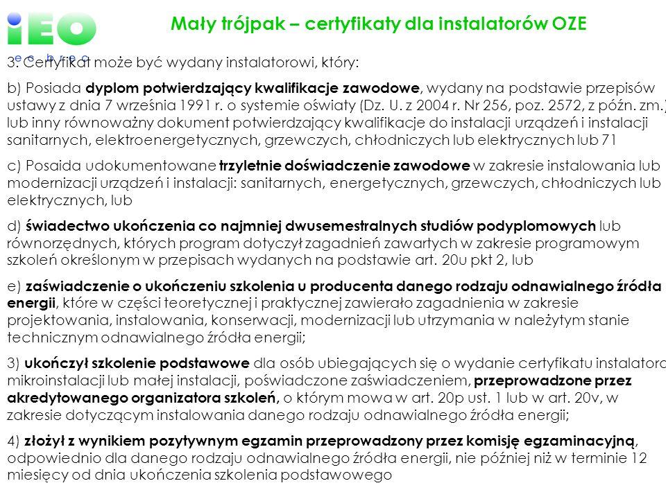 Mały trójpak – certyfikaty dla instalatorów OZE