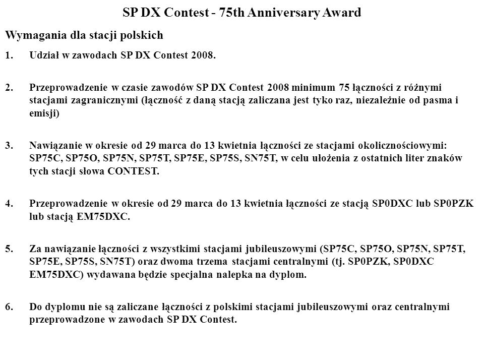 SP DX Contest - 75th Anniversary Award