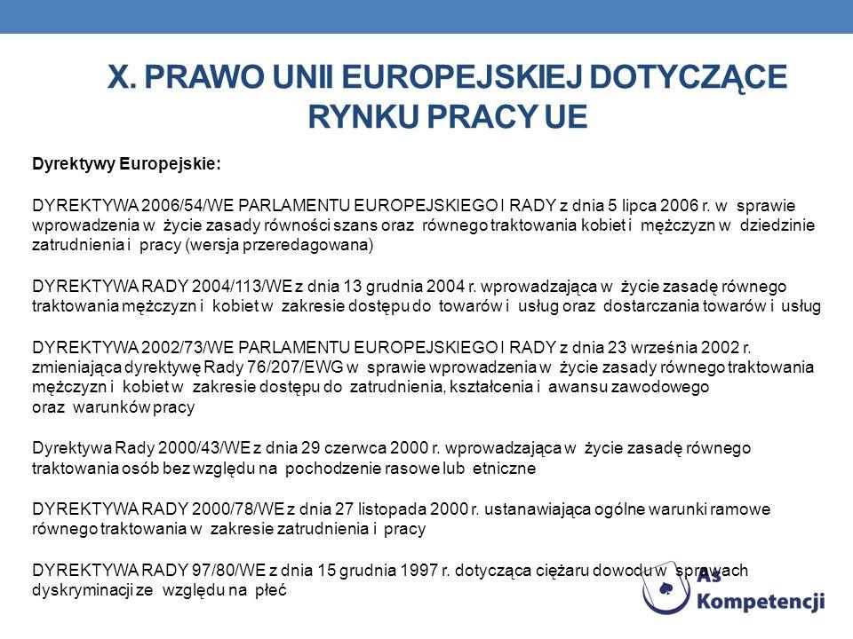 X. Prawo unii europejskiej dotyczące rynku pracy UE