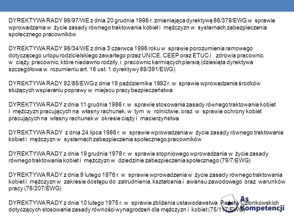 DYREKTYWA RADY 96/97/WE z dnia 20 grudnia 1996 r