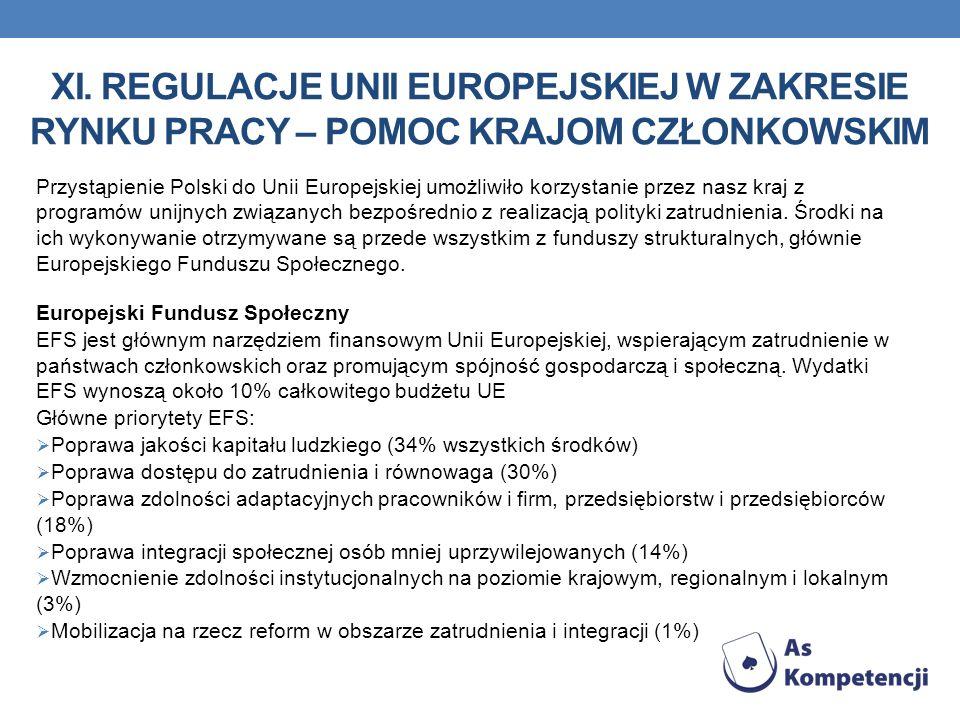 xi. Regulacje Unii Europejskiej w zakresie rynku pracy – pomoc krajom członkowskim