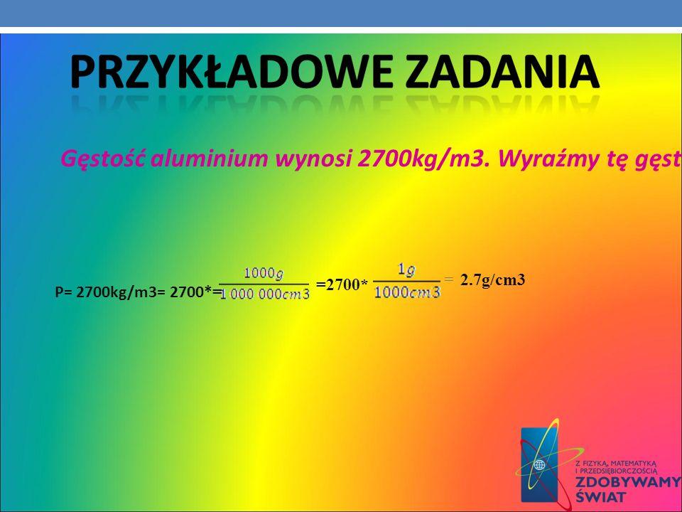 Gęstość aluminium wynosi 2700kg/m3. Wyraźmy tę gęstość w g/cm3.