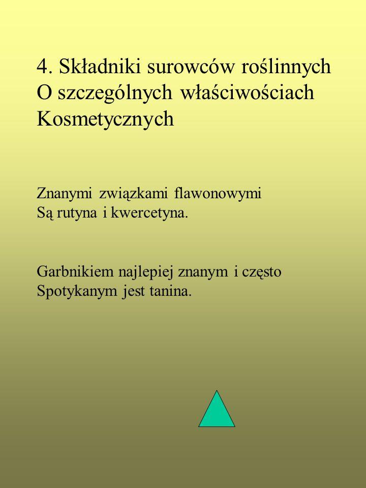 4. Składniki surowców roślinnych O szczególnych właściwościach