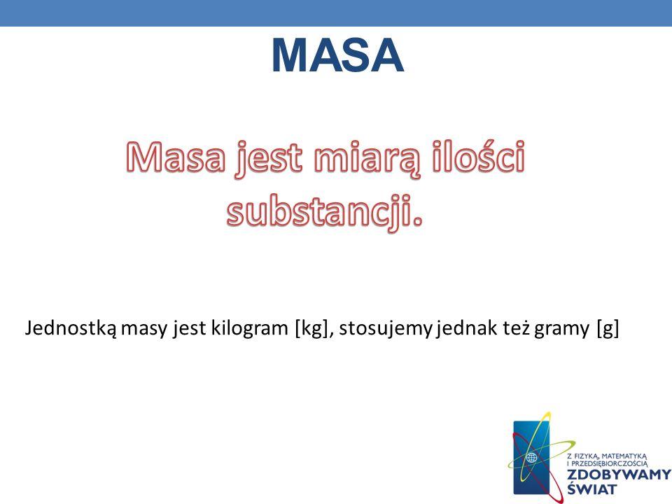 Masa Masa jest miarą ilości substancji.