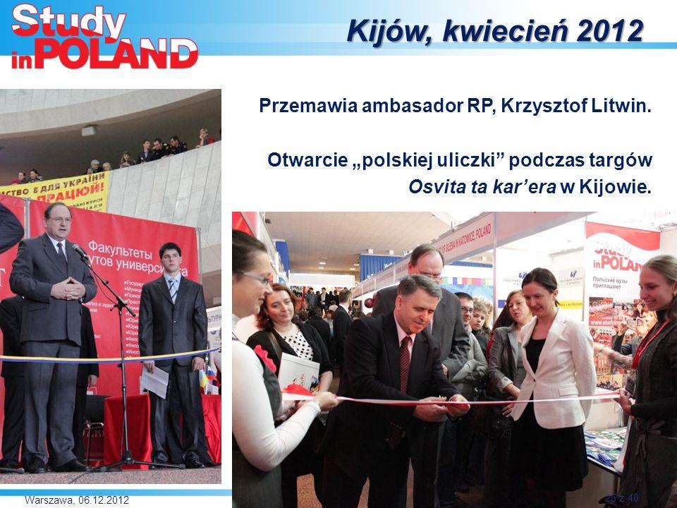 Kijów, kwiecień 2012 Przemawia ambasador RP, Krzysztof Litwin.