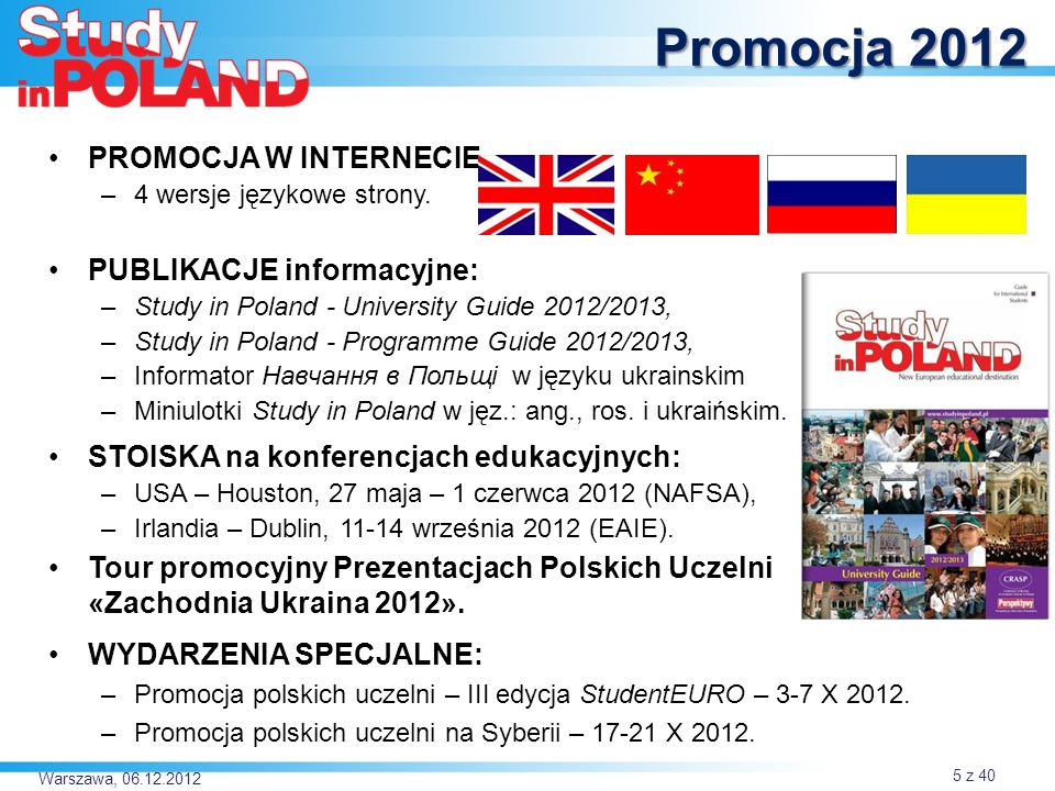 Promocja 2012 PROMOCJA W INTERNECIE PUBLIKACJE informacyjne: