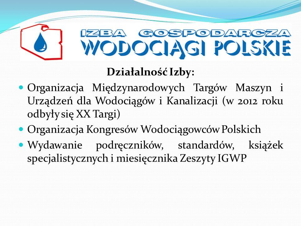 Działalność Izby: Organizacja Międzynarodowych Targów Maszyn i Urządzeń dla Wodociągów i Kanalizacji (w 2012 roku odbyły się XX Targi)