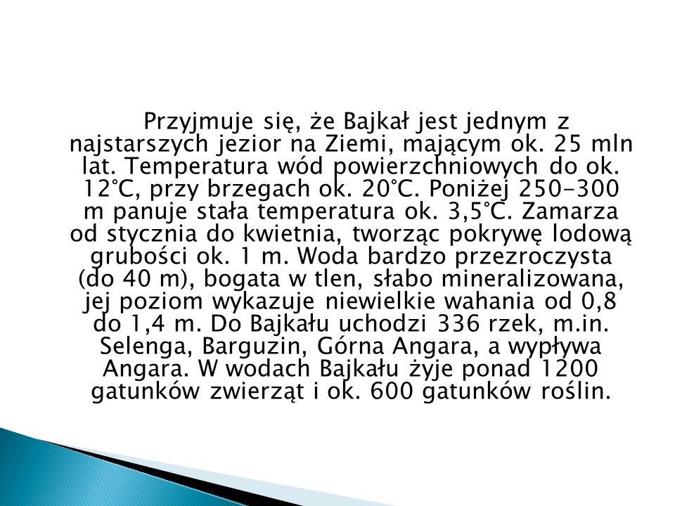 Przyjmuje się, że Bajkał jest jednym z najstarszych jezior na Ziemi, mającym ok.