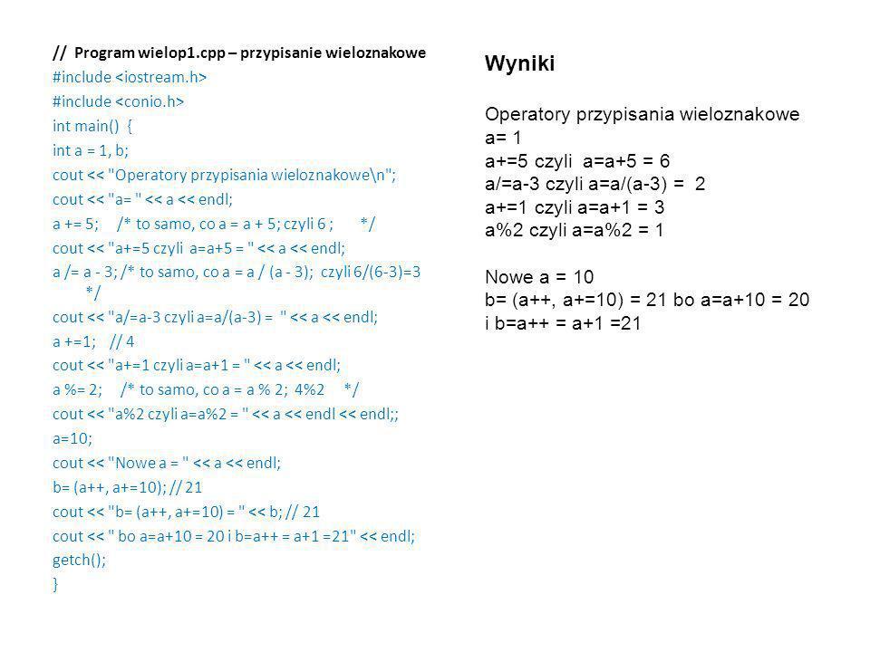 Wyniki Operatory przypisania wieloznakowe a= 1 a+=5 czyli a=a+5 = 6