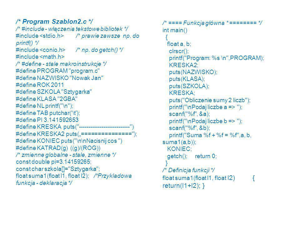 /* Program Szablon2.c */ /* ==== Funkcja główna * ======== */