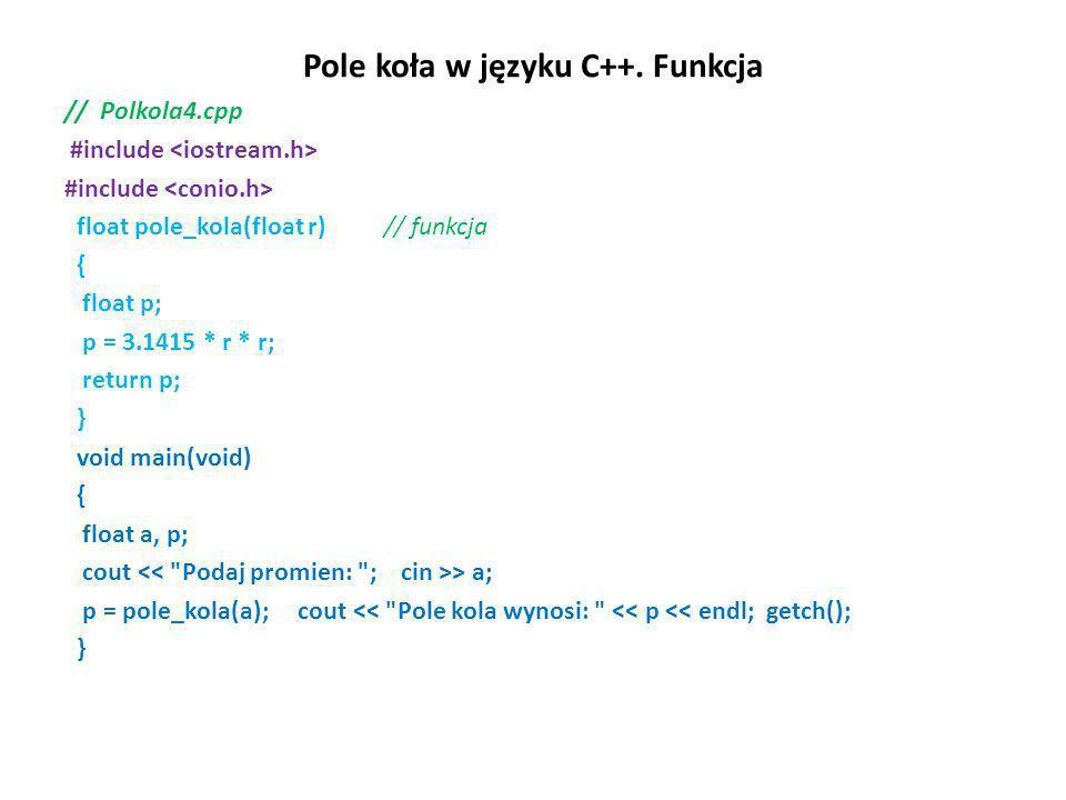 Pole koła w języku C++. Funkcja