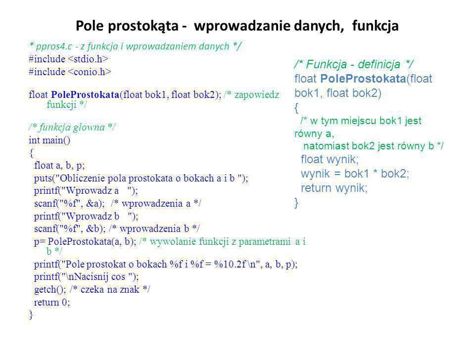 Pole prostokąta - wprowadzanie danych, funkcja