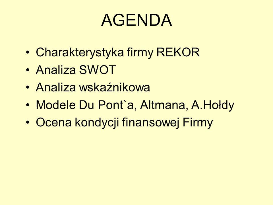 AGENDA Charakterystyka firmy REKOR Analiza SWOT Analiza wskaźnikowa