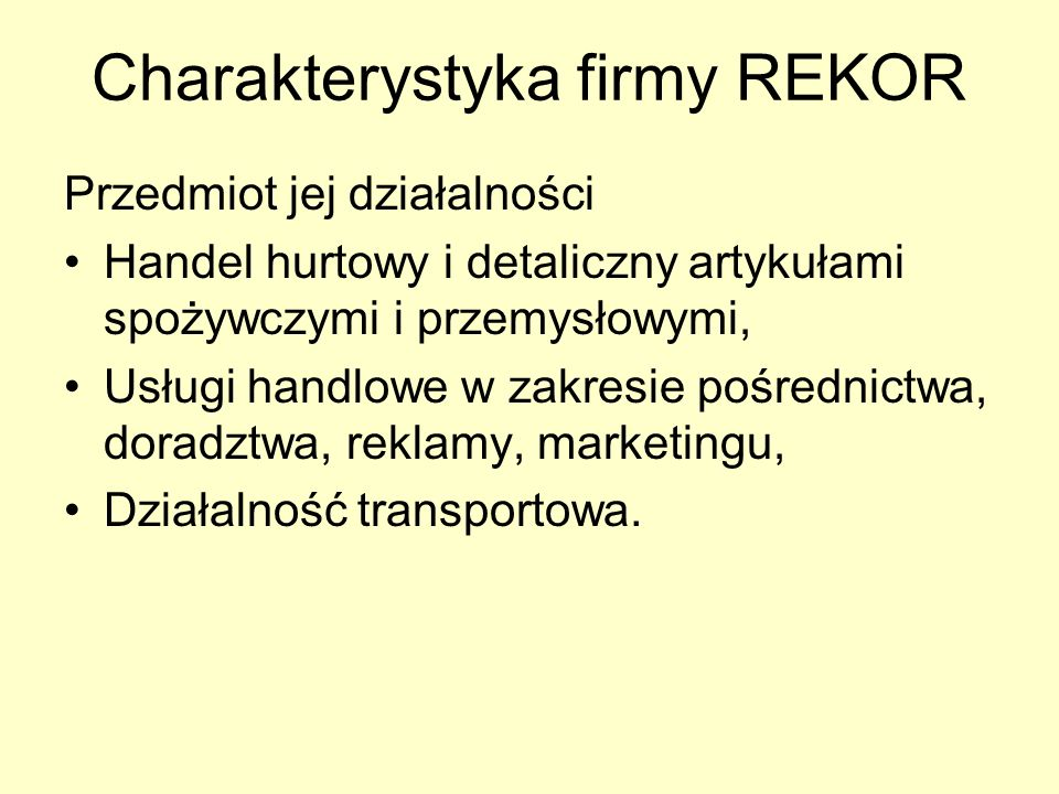 Charakterystyka firmy REKOR