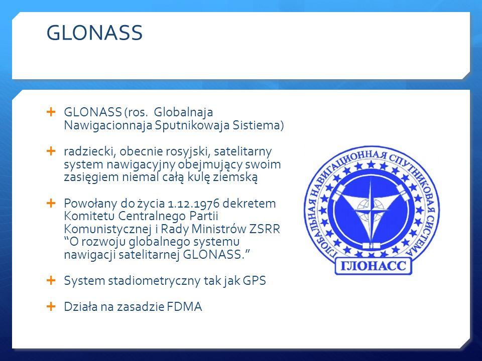 GLONASS GLONASS (ros. Globalnaja Nawigacionnaja Sputnikowaja Sistiema)
