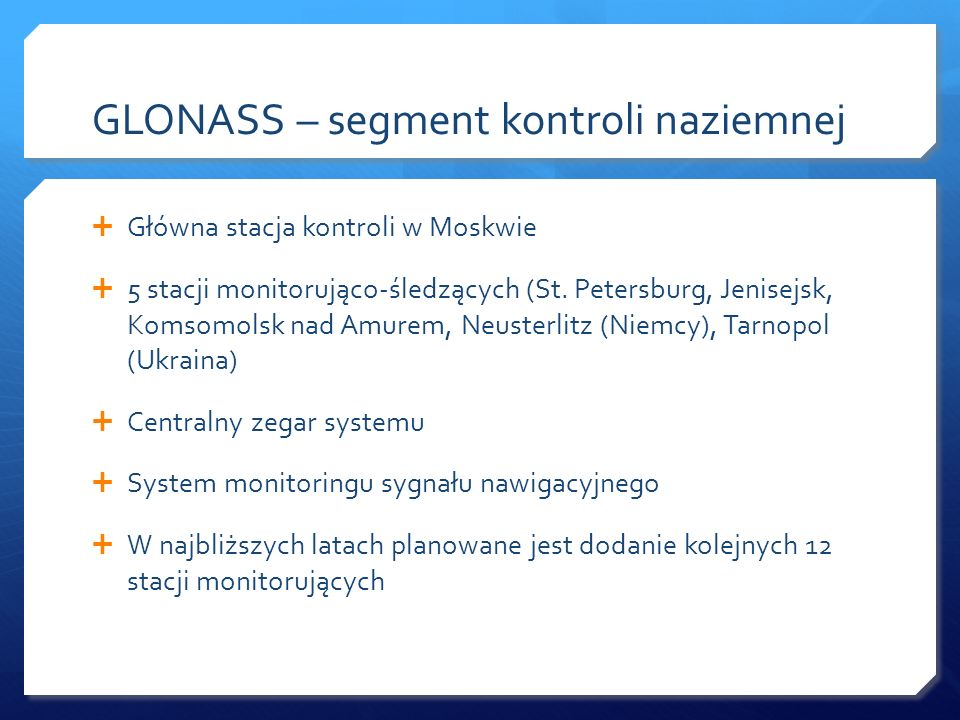 GLONASS – segment kontroli naziemnej