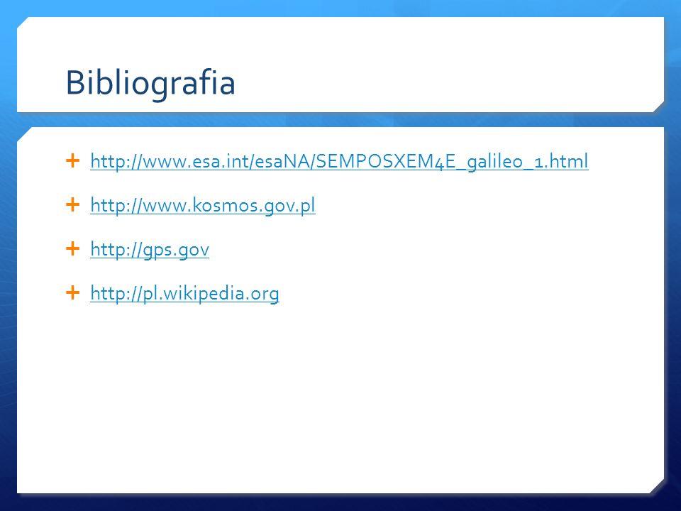 Bibliografia http://www.esa.int/esaNA/SEMPOSXEM4E_galileo_1.html