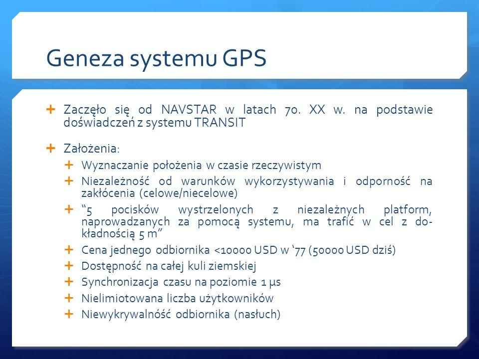 Geneza systemu GPS Zaczęło się od NAVSTAR w latach 70. XX w. na podstawie doświadczeń z systemu TRANSIT.