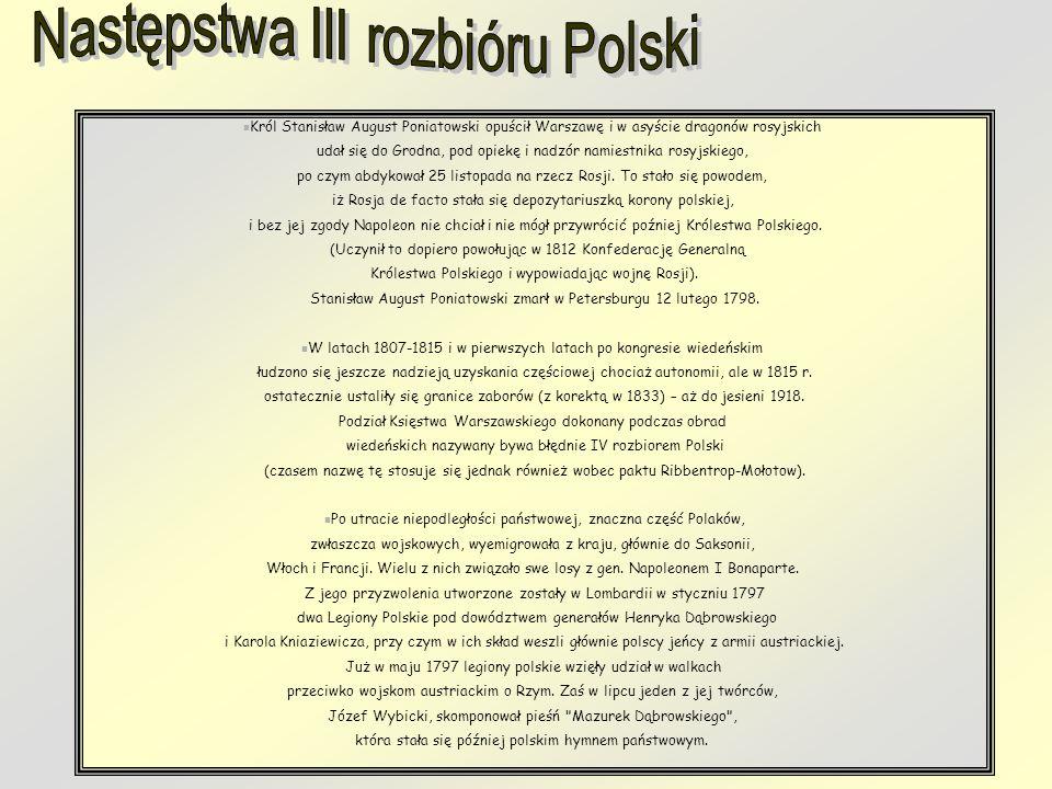 Następstwa III rozbióru Polski