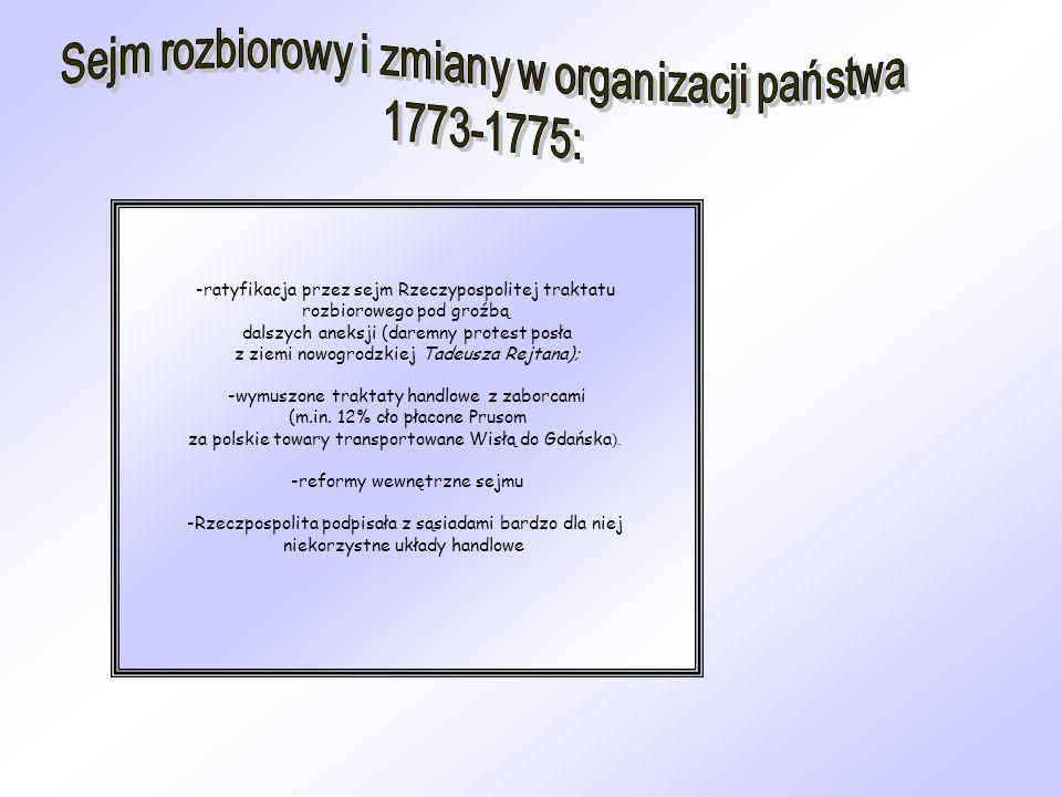 Sejm rozbiorowy i zmiany w organizacji państwa 1773-1775: