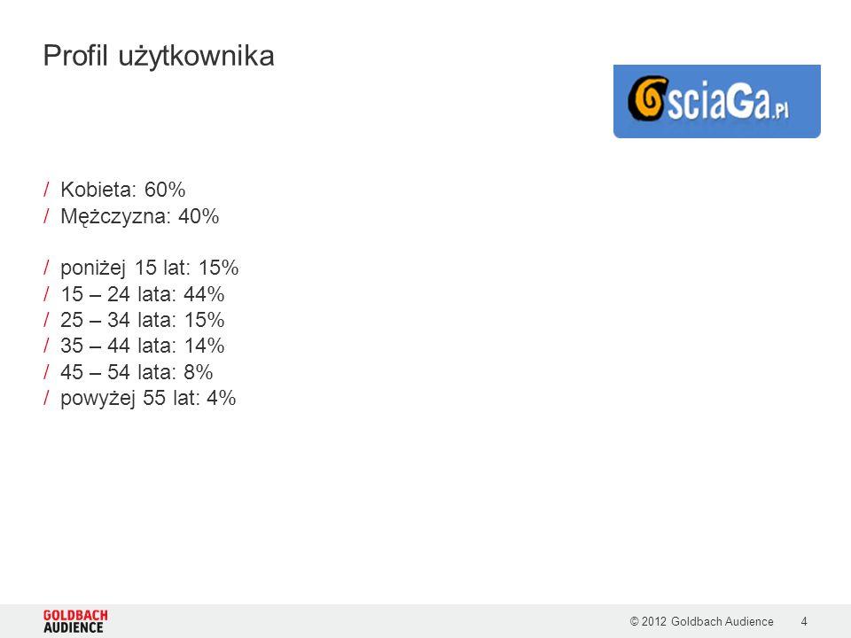 Profil użytkownika Kobieta: 60% Mężczyzna: 40% poniżej 15 lat: 15%