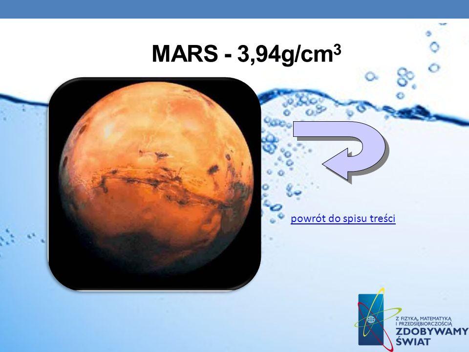 Mars - 3,94g/cm3 powrót do spisu treści