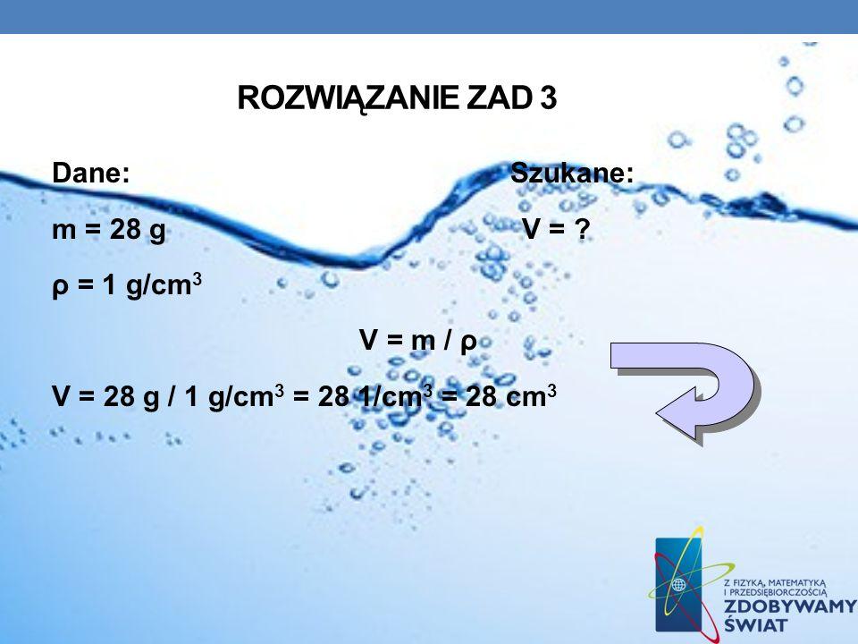 Rozwiązanie zad 3 Dane: Szukane: m = 28 g V = .